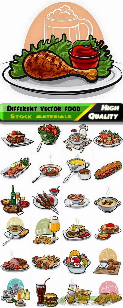 Set of Different vector food from stock - 25 Eps