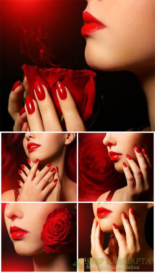Романтичная девушка с красной розой / Romantic girl with red rose - Stock P ...