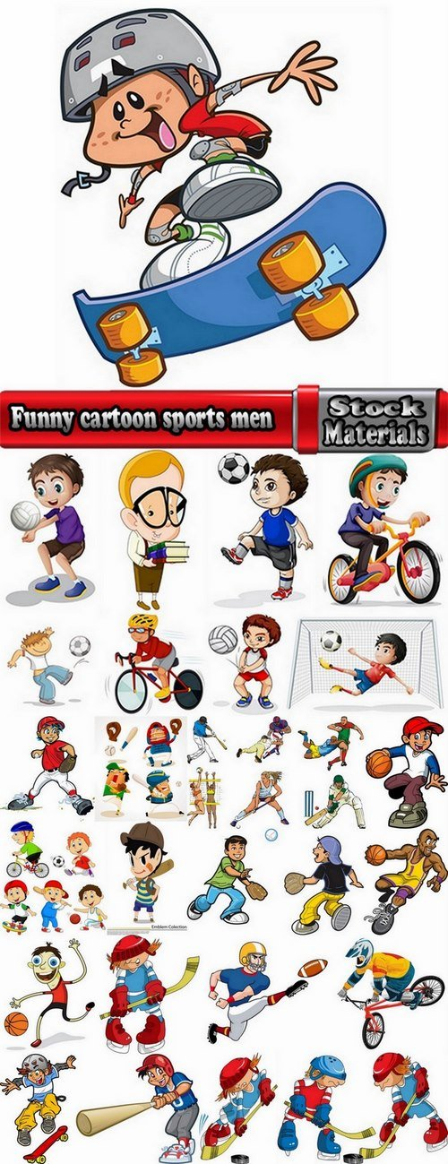 Funny cartoon sports men in vector 25 Eps