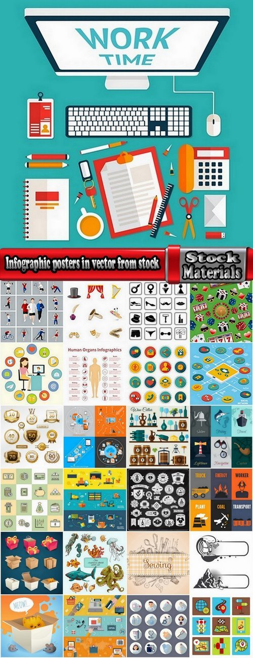 Infographic posters in vector from stock 25 Eps