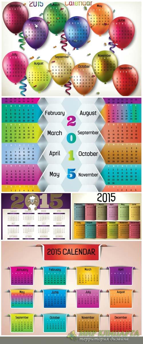 Календари 2015 в векторе  / Calendar 2015 vector # 4