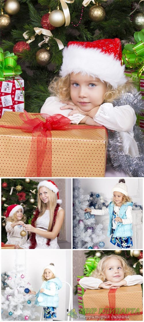 Новый год, девочка у елки / New Year's Eve, girl at the christmas tree - Stock Photo