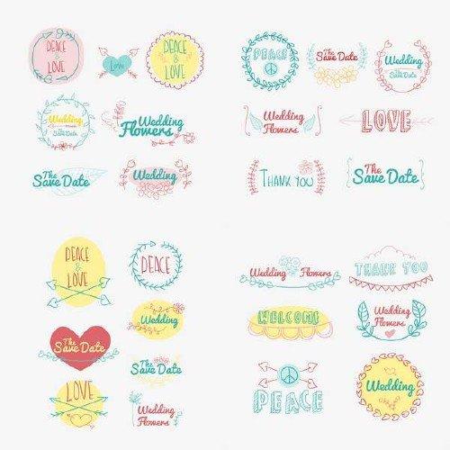 Рисованные руками романтические логотипы и значки в векторе