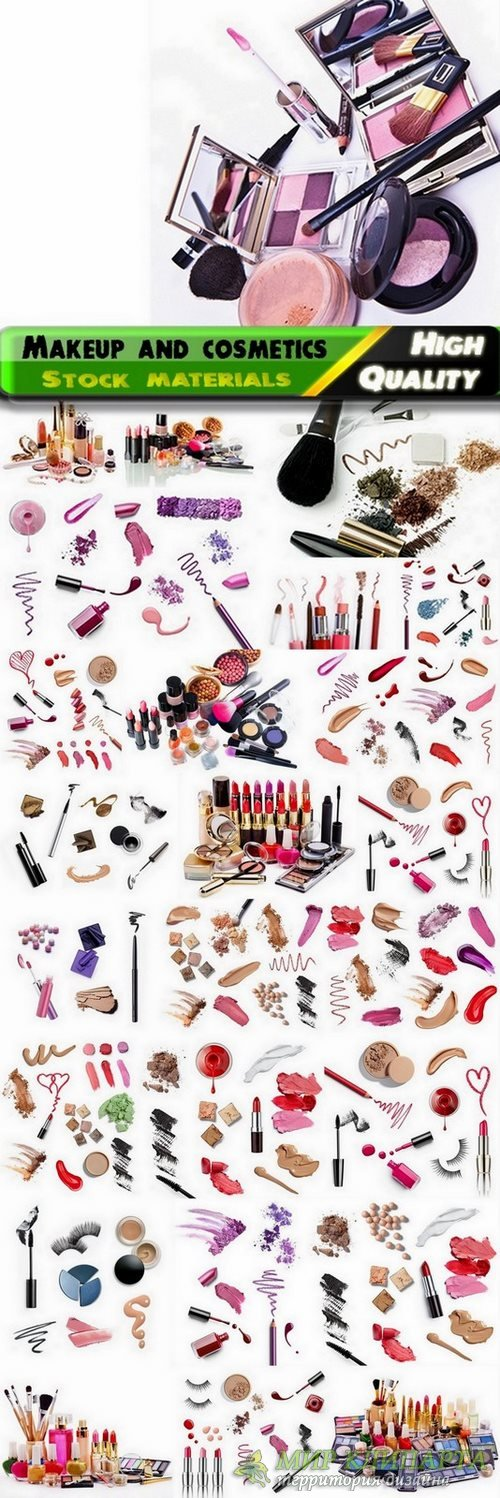 Makeup and cosmetics isolated on white Stock images - 25 HQ Jpg