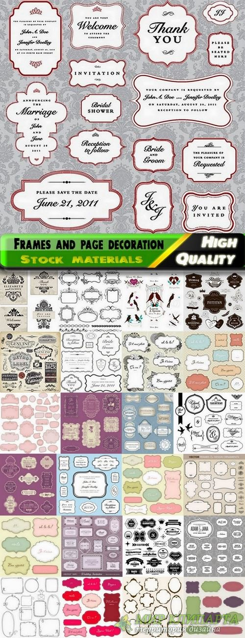 Different frames and page decoration elements - 25 Eps