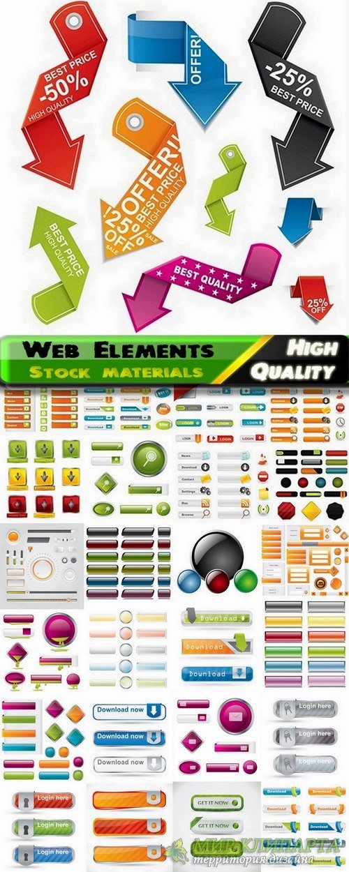 Web Design Elements in vector from stock #2 - 25 Eps