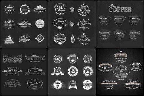 Черно-белые логотипы и значки в векторном варианте