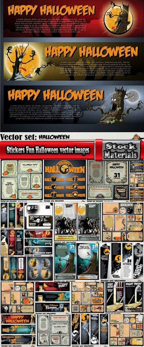 Stickers Fun Halloween vector images 25 Eps