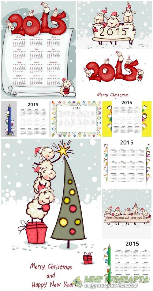 Календари 2015, новогодние векторные фоны / Calendars 2015, Christmas vecto ...