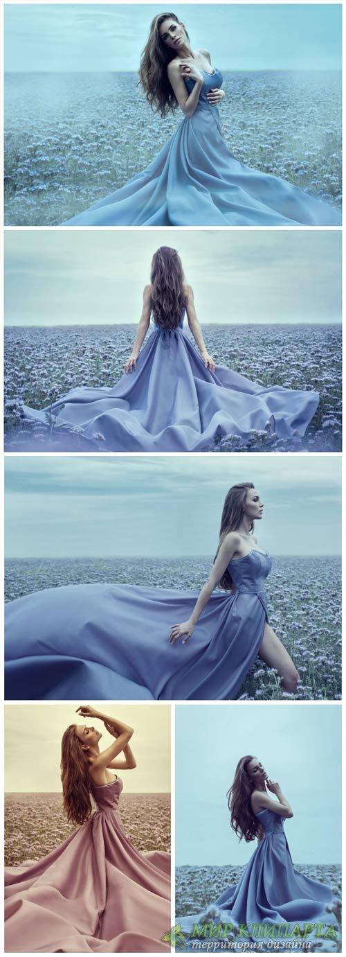 Девушка в красивом платье, поле с цветами / Girl in a beautiful dress - Sto ...
