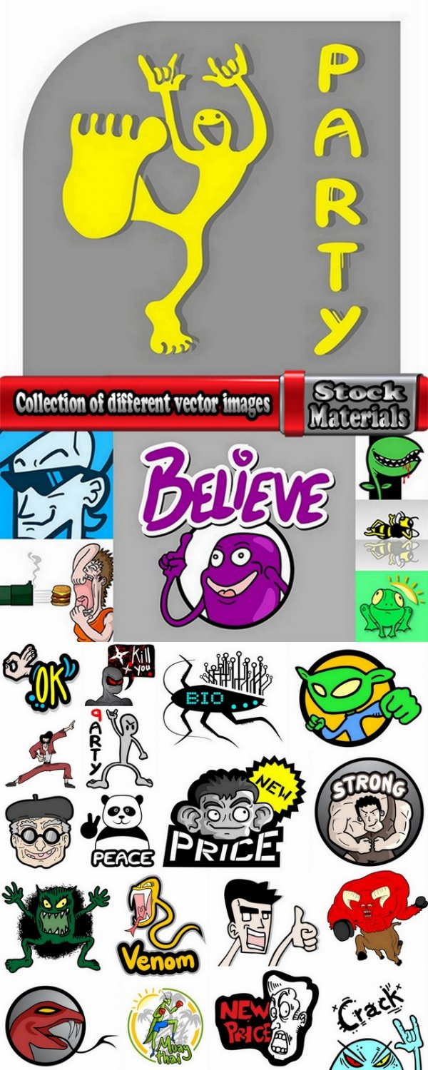 Collection of different vector images on various topics 25 Eps