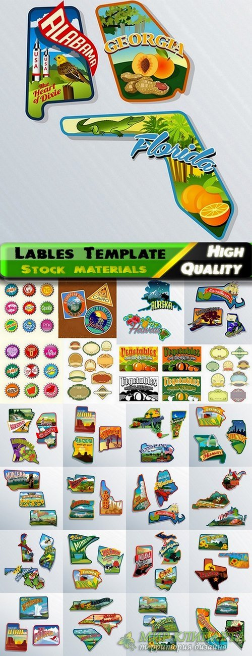 Lables Template design in Vector from Stock set #15 - 25 Eps