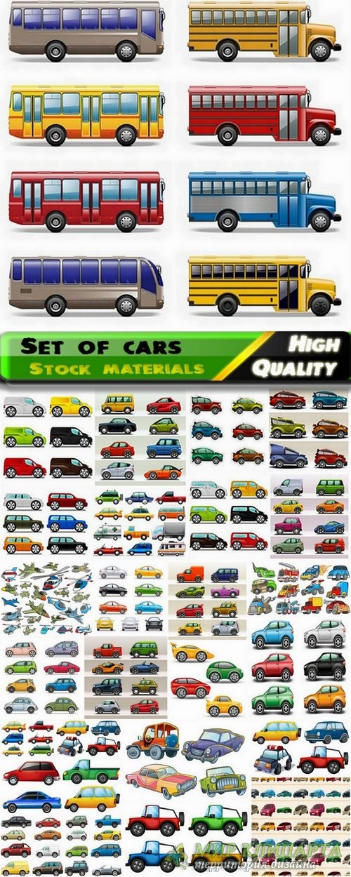 Vector set of cars from stock - 25 Eps
