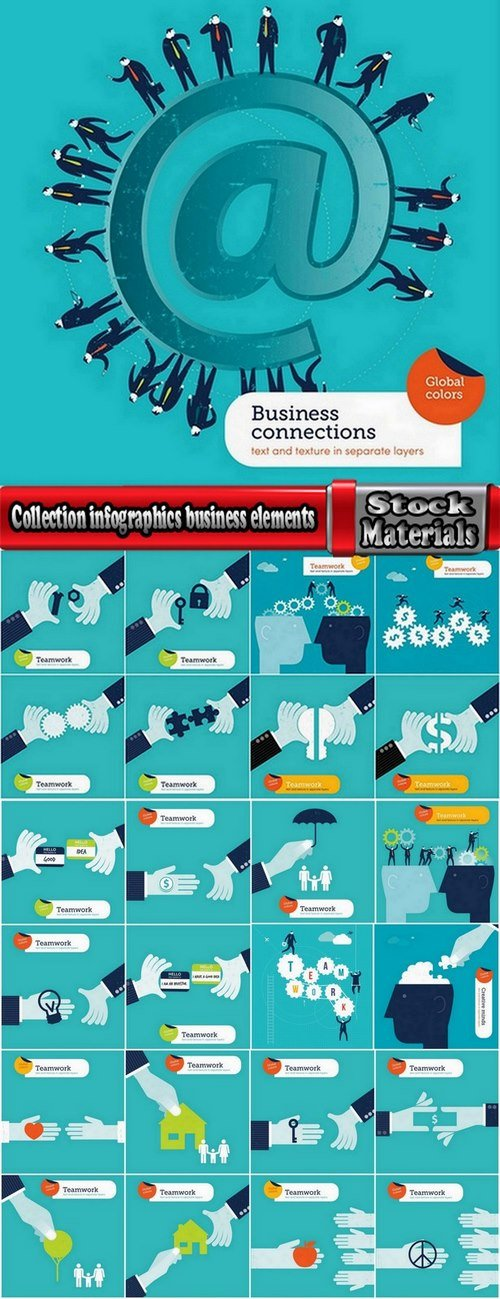 Collection infographics business elements vector images 25 Eps