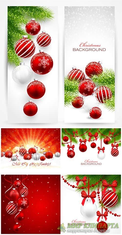 Рождественский вектор, новогодние игрушки и ветки ели / Christmas vector