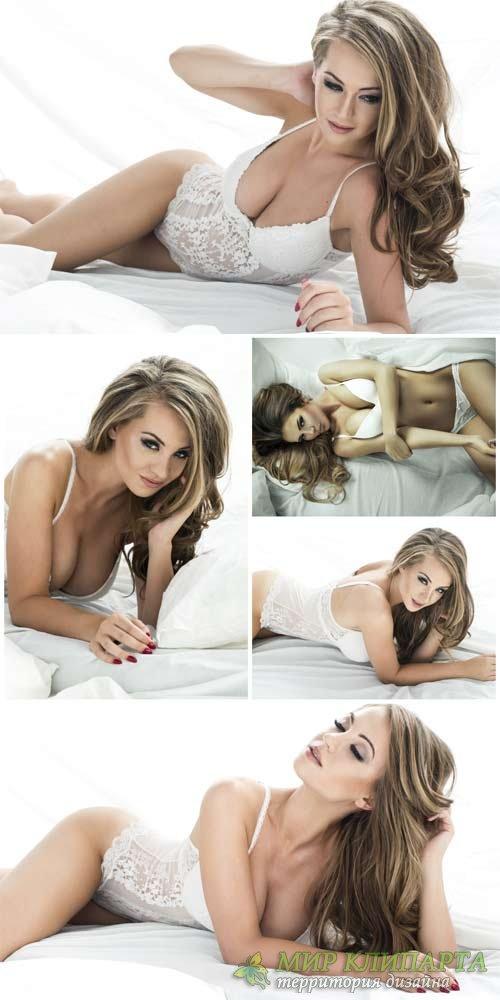 Девушка в красивом белом нижнем белье / Beautiful girl in white underwear - ...