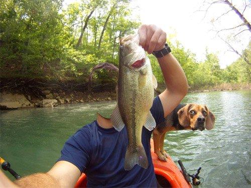 Шаблон для мужчин - Рыбак с собакой