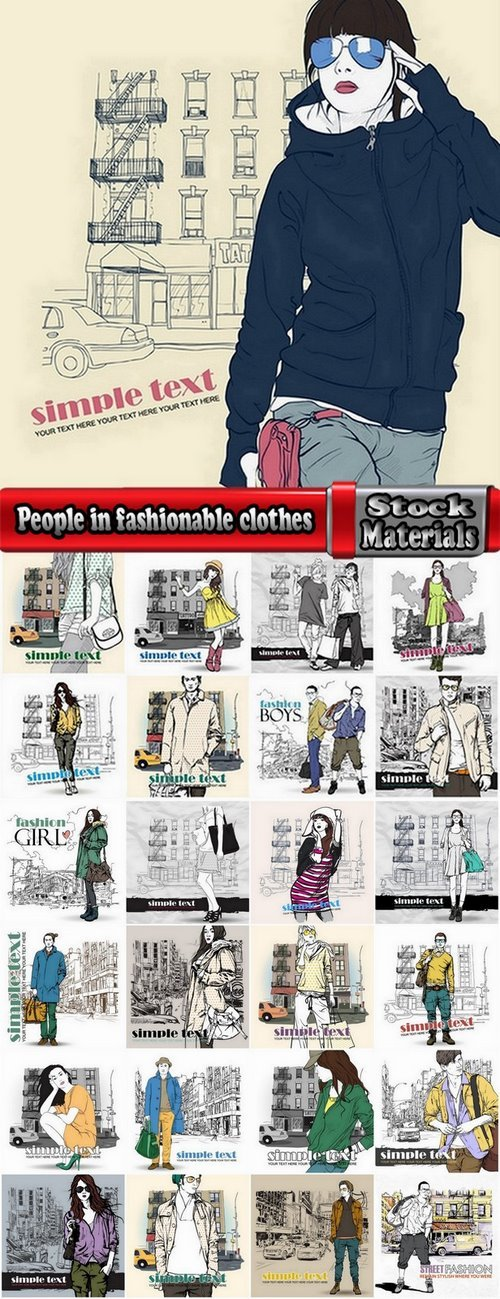 People in fashionable clothes vector images 25 Eps