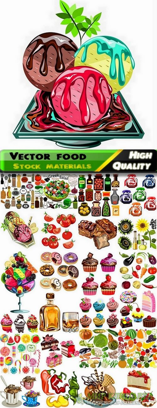 Set of Different vector food from stock #2 - 25 Eps