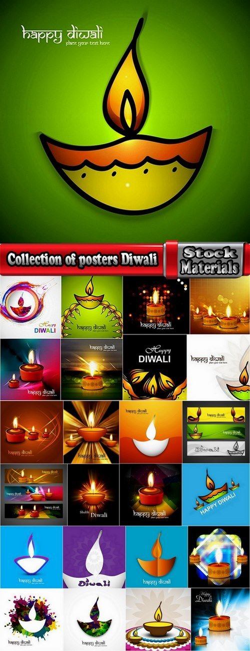 Collection of posters Diwali vector images 25 Eps