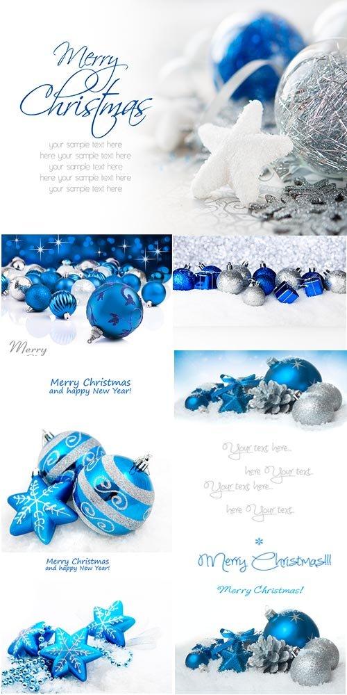 Сборник новогодних фонов в голубых тонах