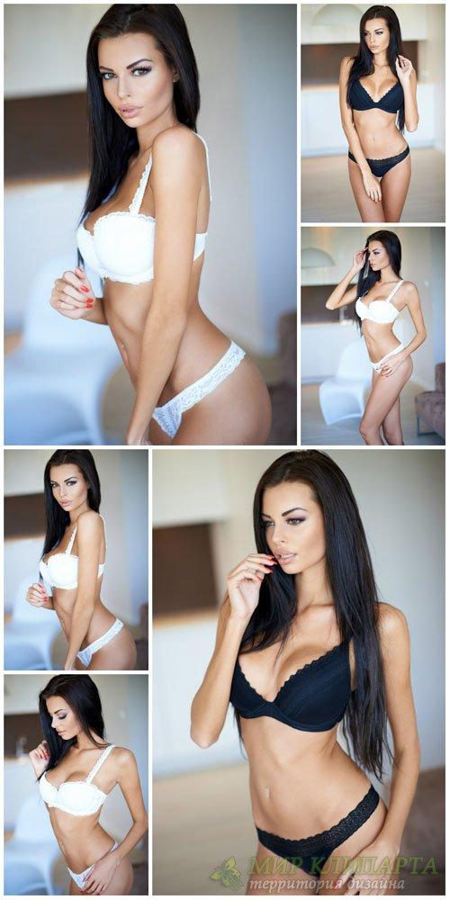 Красивая девушка, белое и черное нижнее белье / Beautiful girl - Stock Phot ...