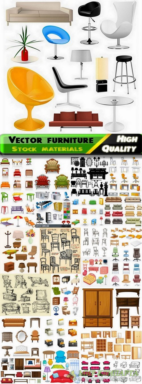 Different vector furniture from stock - 25 Eps