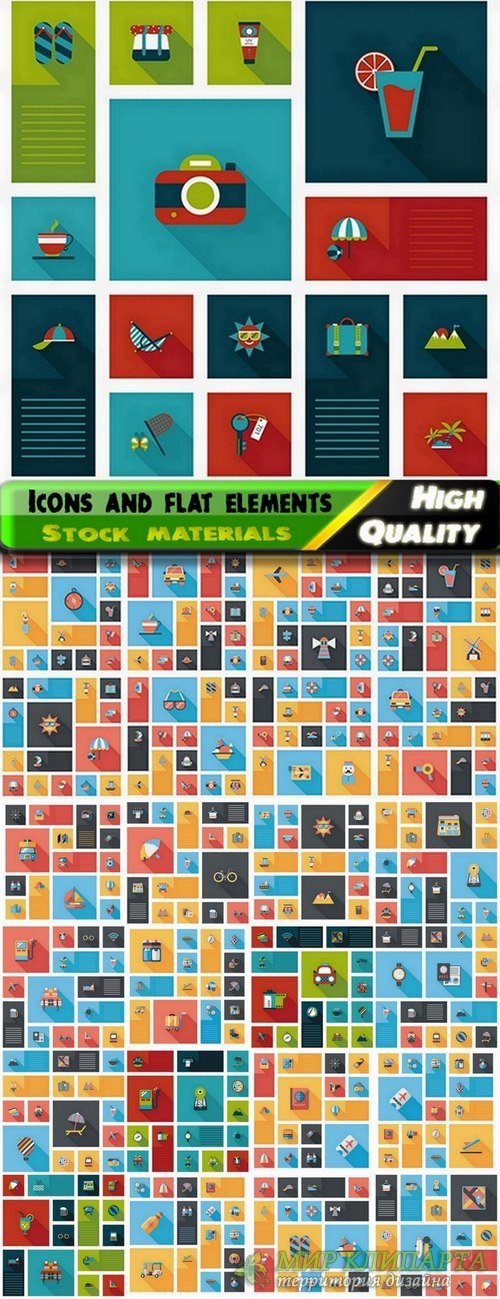 Icons in vector and flat elements from stock - 25 Eps
