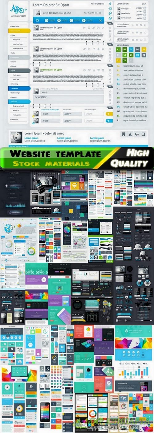 Website template design set #9 - 25 Eps