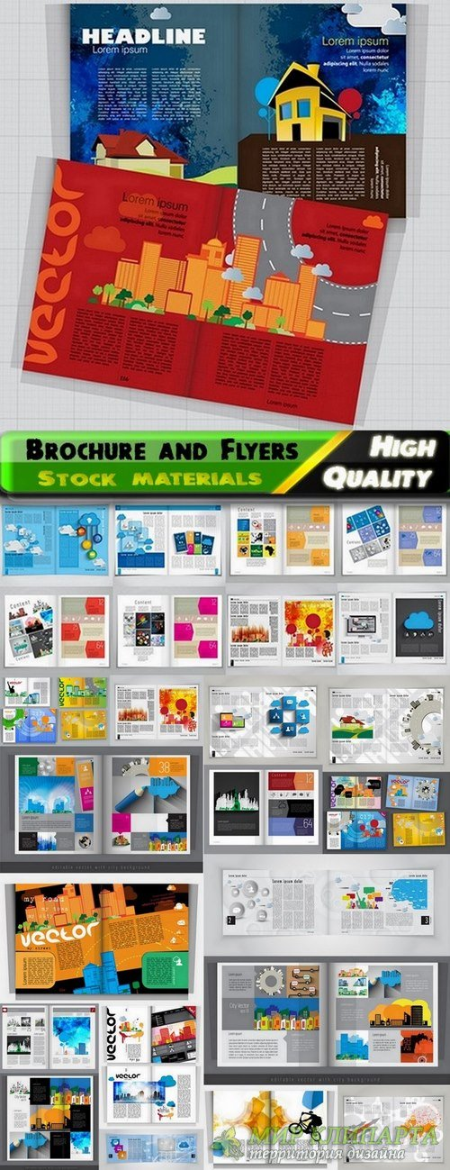 Brochure and Flyers Template Design in vector from stock #23 - 25 Eps