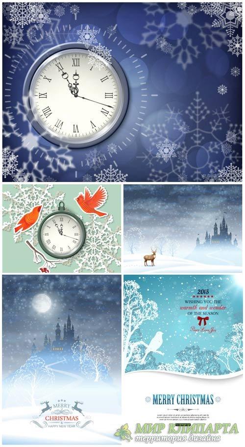 Рождественский вектор, новогодние куранты, зимние фоны с снежинками / Chris ...
