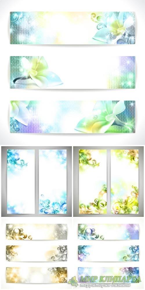 Векторные баннеры с сияющими цветочными элементами / Vector banners with sh ...