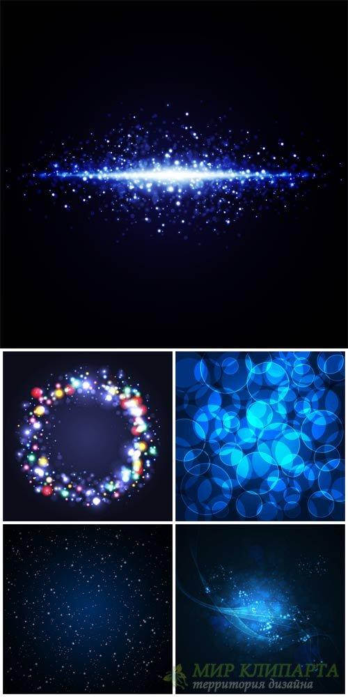 Темные векторные фоны с синим сиянием / Dark vector backgrounds with blue g ...