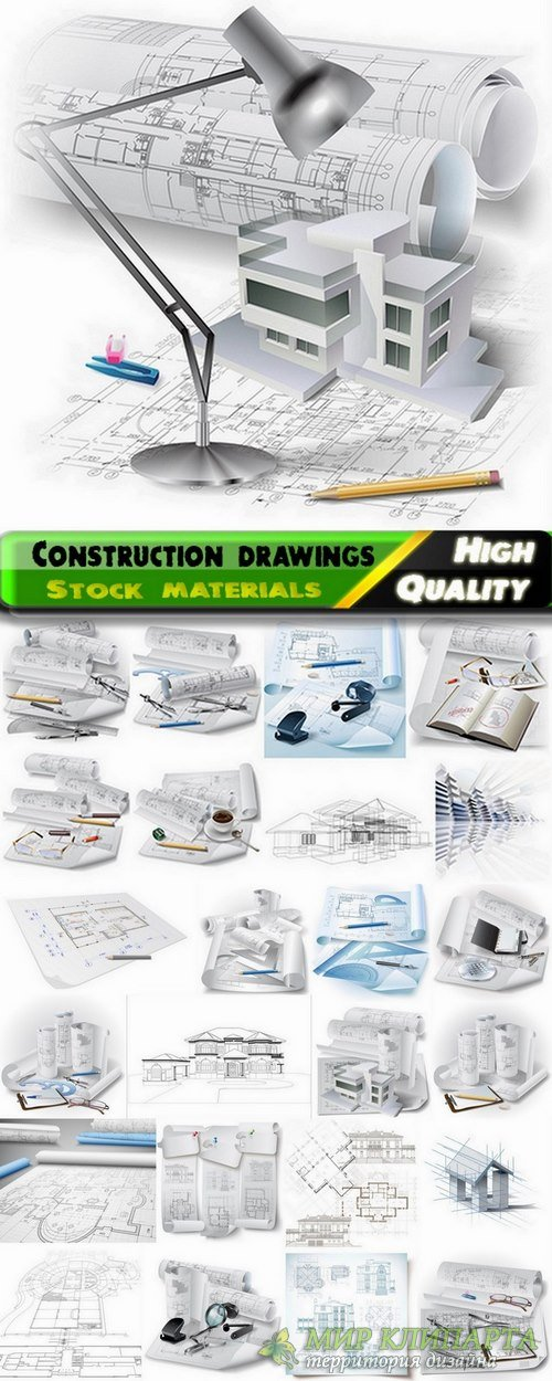 Construction drawings and blueprints of buildings - 25 Eps