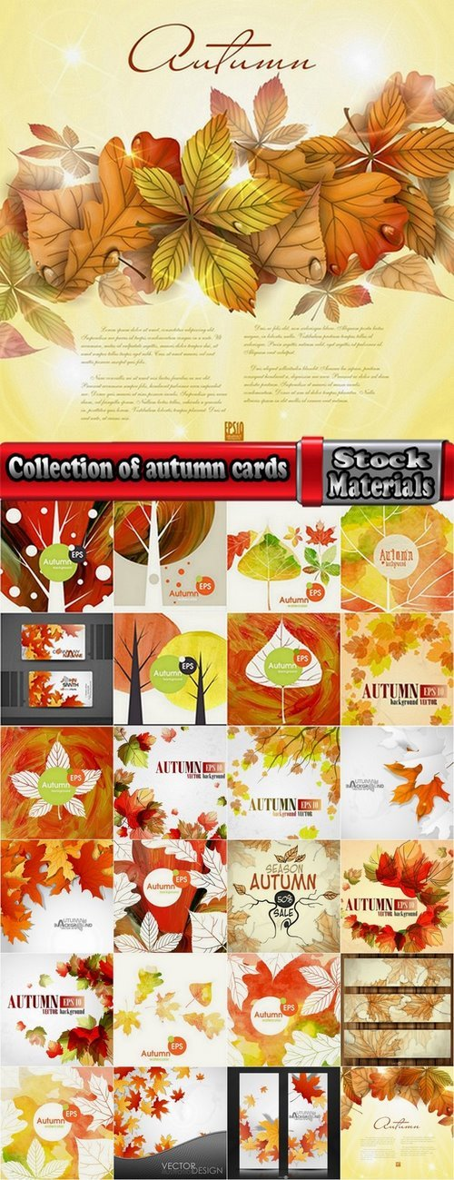 Collection of autumn cards 25 Eps
