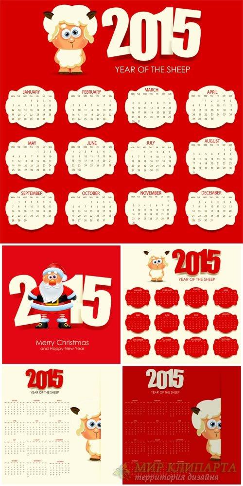 Календари на 2015 год, санта клаус в векторе / Calendars for 2015, santa cl ...