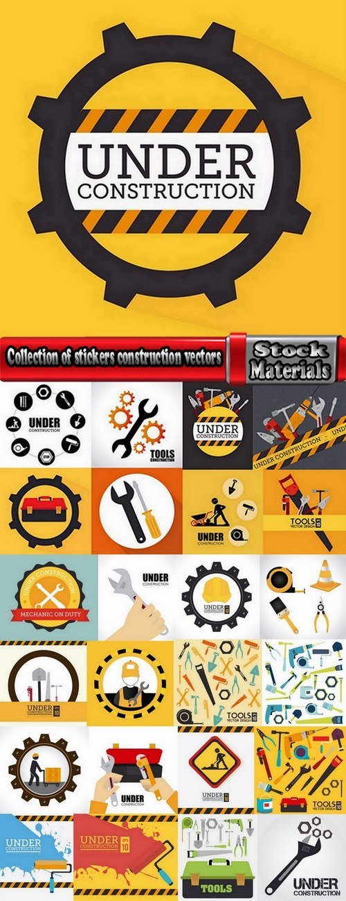Collection of stickers construction vectors #2-25 Eps