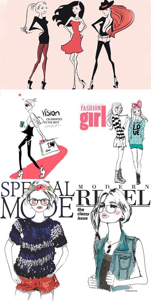Стильные и модные девушки в векторе
