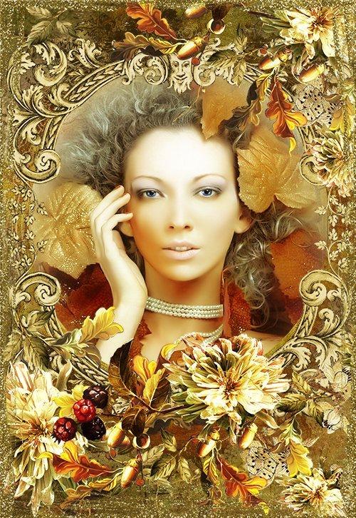 Нарядилась осень в кружева старинные... -  романтическая осенняя рамка в ви ...