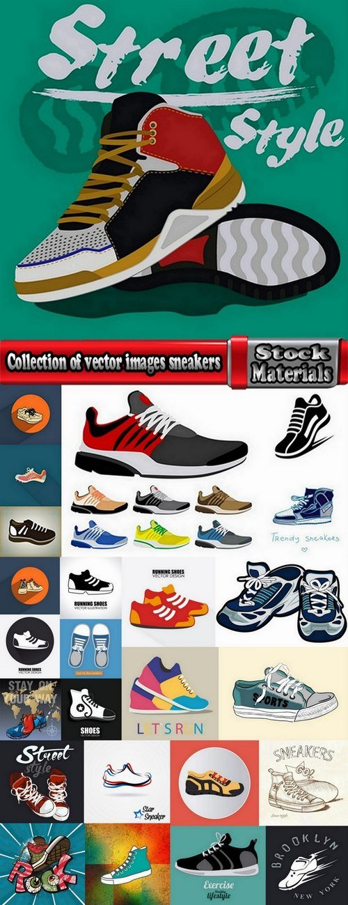 Collection of vector images sneakers 25 Eps