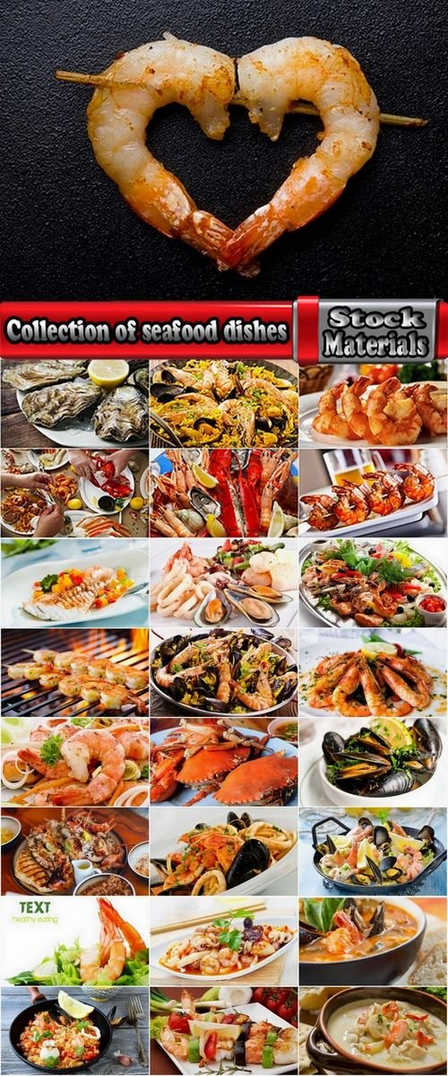 Collection of seafood dishes 25 UHQ Jpeg