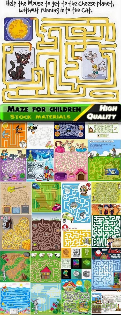 Maze for children in vector from stock - 25 Eps