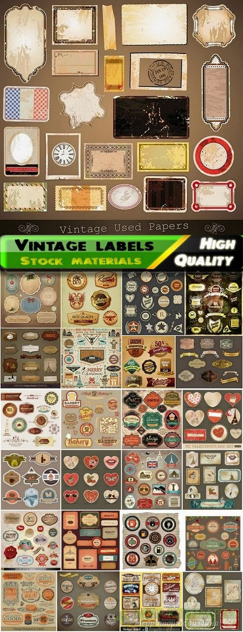 Different vintage labels in vector from stock #2 - 25 Eps