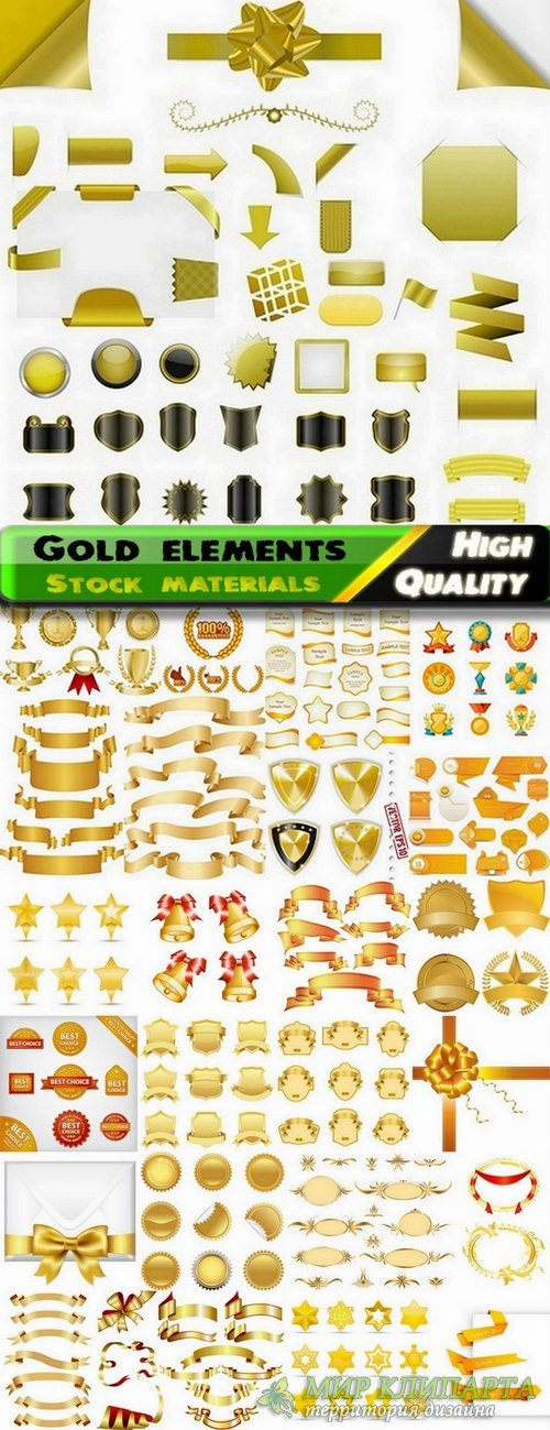 Different gold design elements in vector from stock #2 - 25 Eps