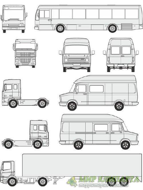 Автомобили DAF - векторные отрисовки в масштабе