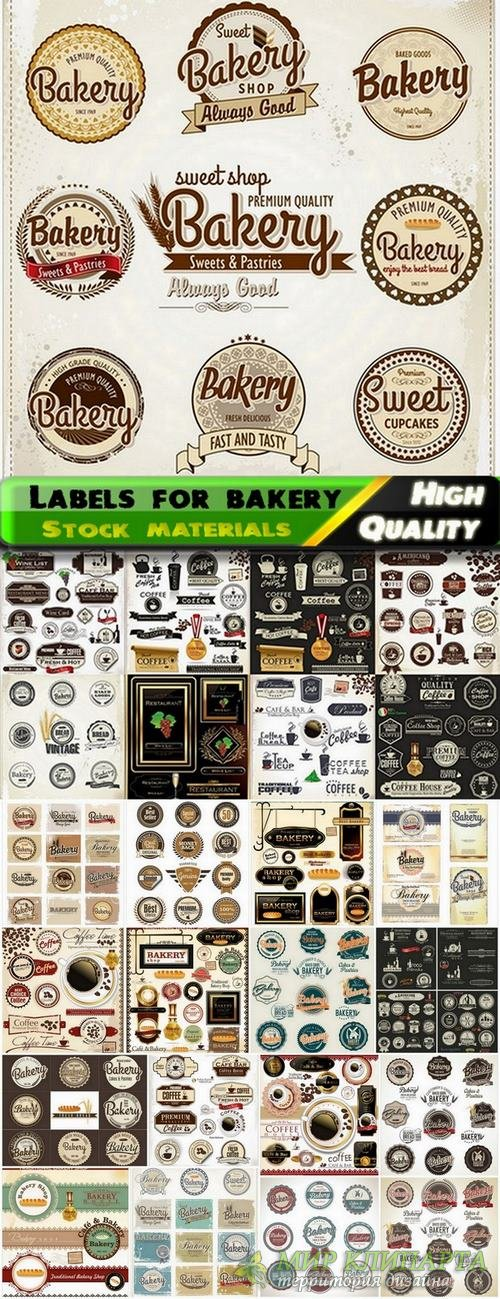 Different vector labels for bakery from stock - 25 Eps