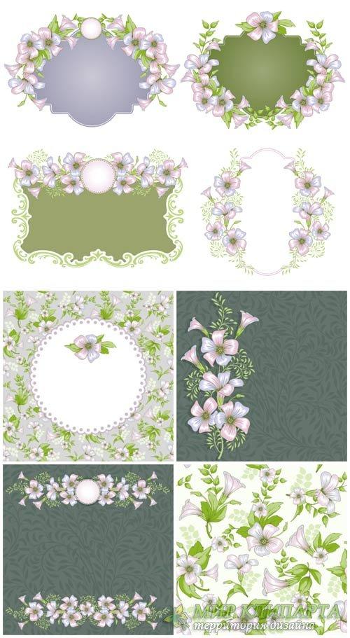 Нежные векторные фоны с цветочками, цветочные рамки / Gentle vector backgro ...