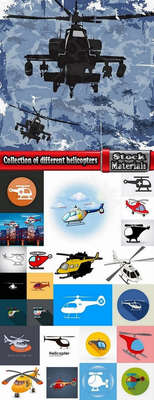 Collection of different helicopters 25 Eps