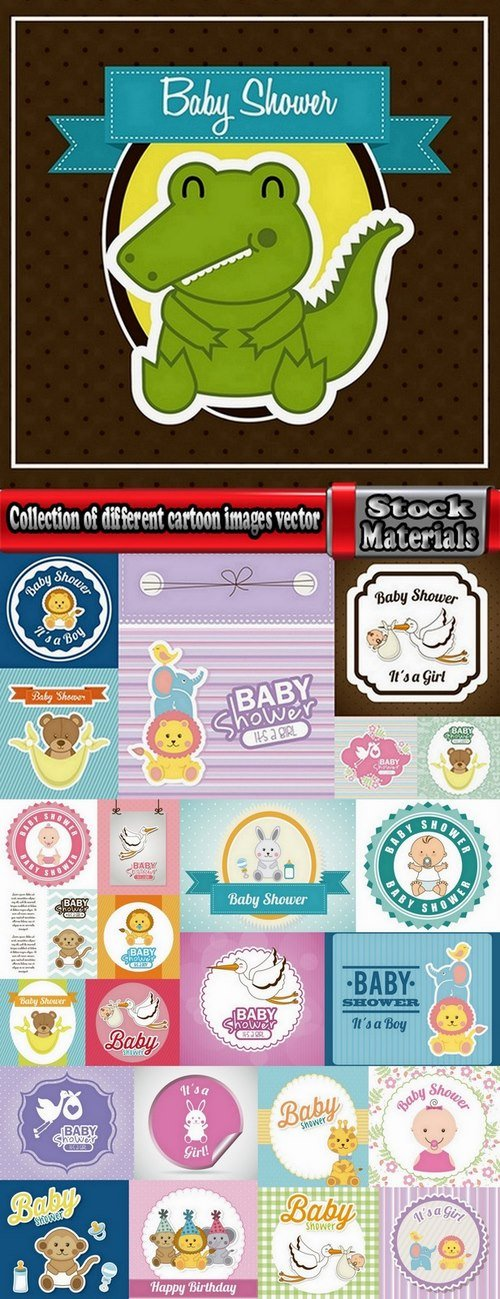 Collection of different cartoon images vector 25 Eps