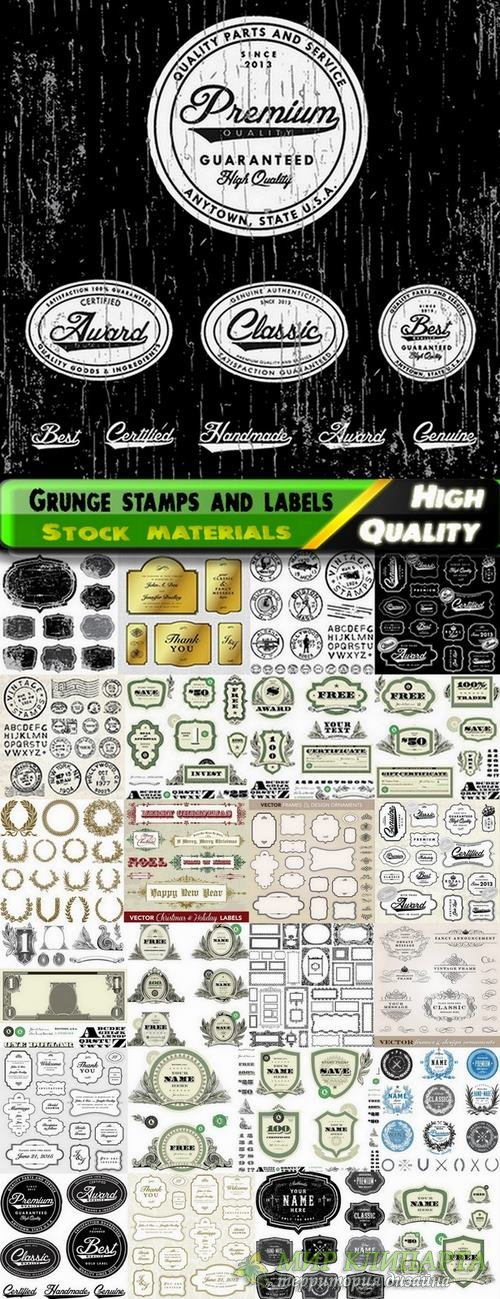Grunge stamps and labels in vector from stock #4 - 25 Eps